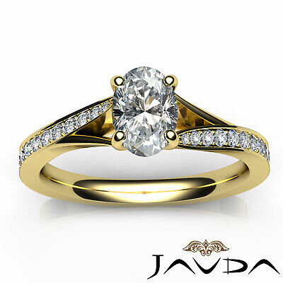 Cathedral Split Shank Pave Oval Diamond Engagement Ring GIA E Color VS2 0.85 Ct 9