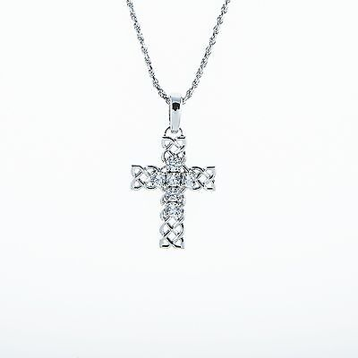 Sterling Silver Cubic Zirconia Celtic Cross Pendant with Chain Celtic Zirconia Cross
