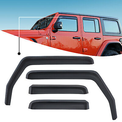 Window Visor Vent Deflectors Rain Guards Jeep Wrangler JK 2007-2018 in -