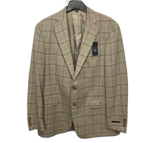 $495 Hart Schaffner Marx Chicago Wool Sport Coat 46L 46 Blazer Jacket Tan Khaki Clothing, Shoes & Accessories