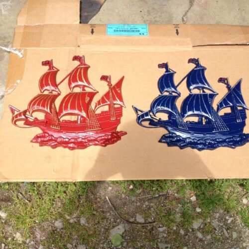 Pair Vintage BEAUTIFUL Cast Iron Sailing Ships, Wall Art / Plaque, Hanging Set