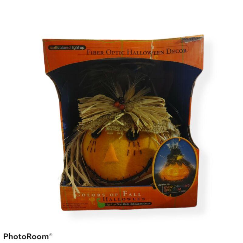Halloween Autumn Fiber Optic Jack O Lantern Pumpkin Scarecrow Fall Leaves Bird