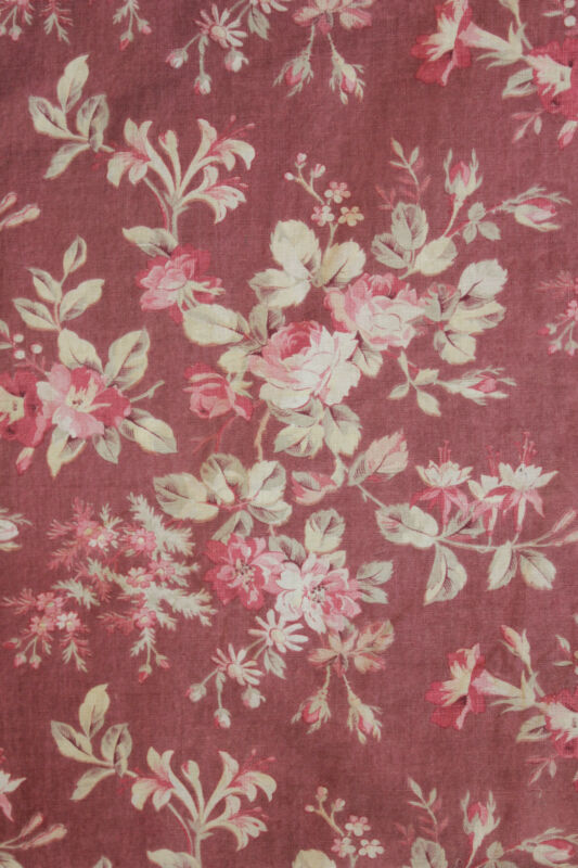 Floral Fabric Antique French c1870 sienna ground tone pink flowers cotton