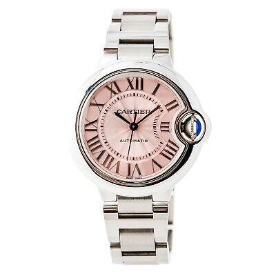 Cartier Ballon Bleu 3489 W6920100 Women Automatic Watch Stainless Pink Dial 33M