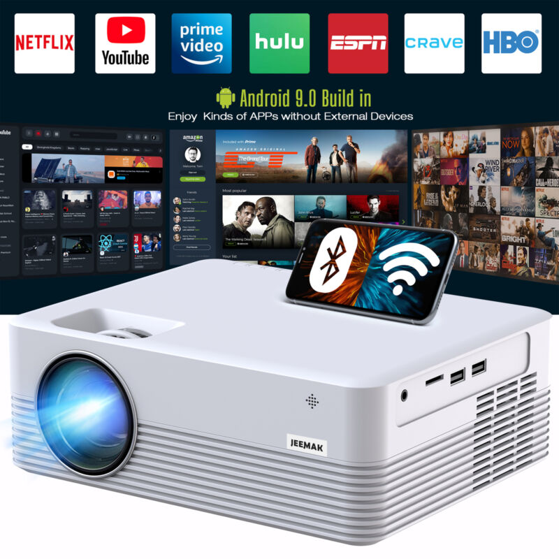 Smart Projector, Android WiFi Bluetooth Projector, Mini Wireless Projector US