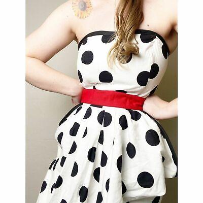 Vintage 80s Polka Dot Strapless Ruffle Prom Dress