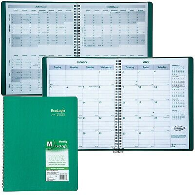 """2020 Brownline EcoLogix CB435W.GRN Monthly Planner, 8.5 x 11"""", 100% Recycled"""
