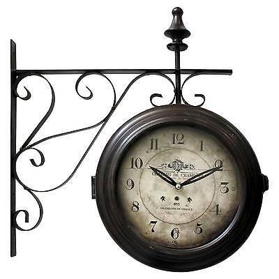 Double Sided Iron Wall Clock Black - Yosemite Home Decor®