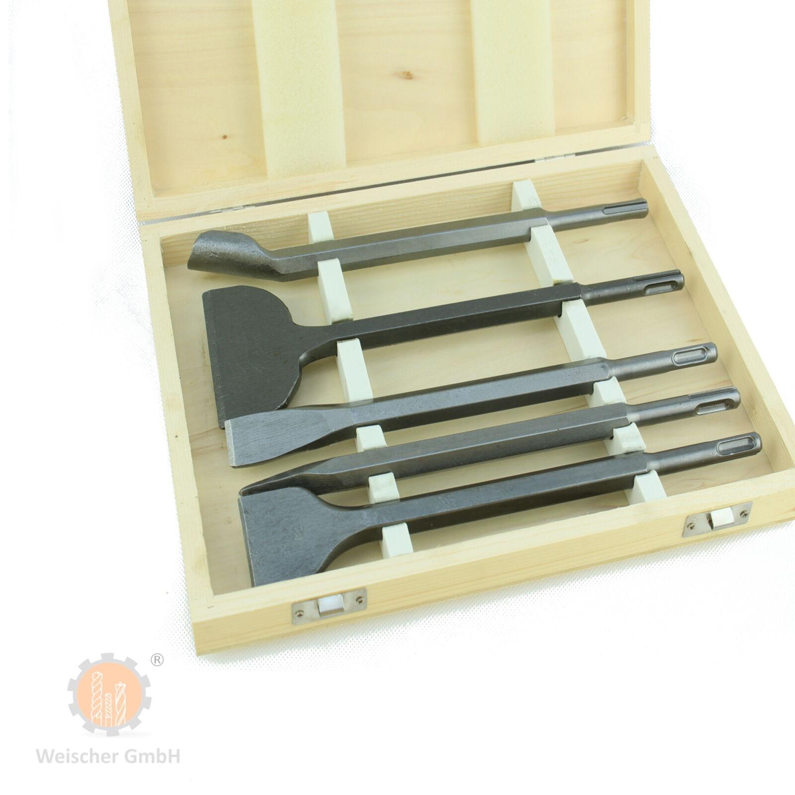 SDS Plus Meissel Meißel Set 250 mm Kanal Spitz Flach Breit Fliesen mit Koffer