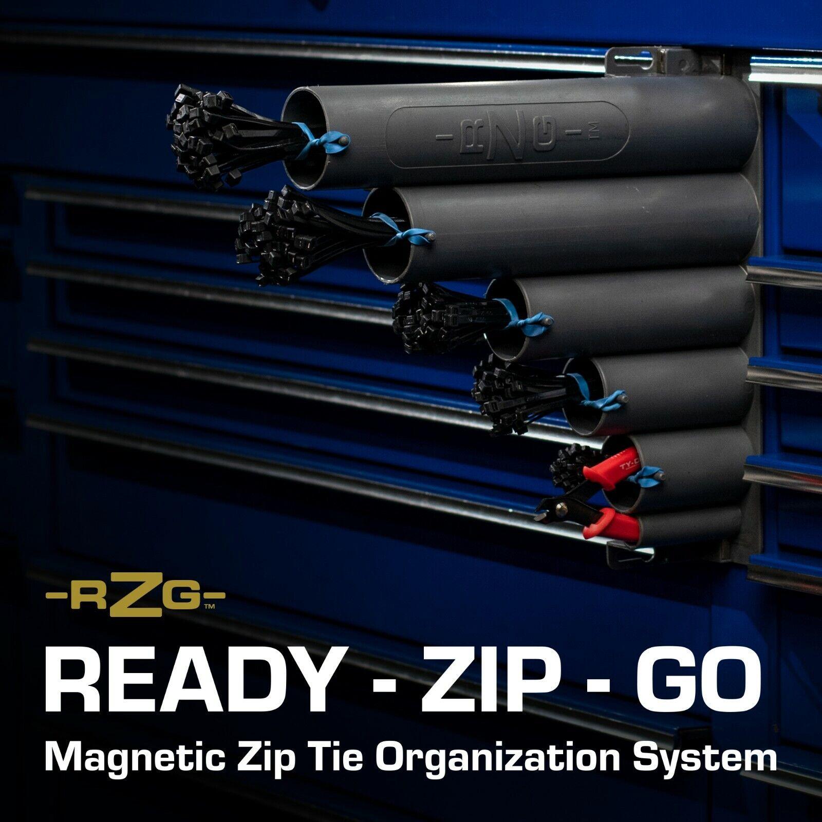 Zip Tie Organizer, Magnetic base, 250 zip ties and cutter in