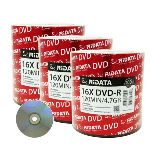 300 Ridata Dvd-r 16x 4.7gb 120 Min Silver Logo Write-once Blank Recordable Disc