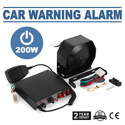 200W 8Sound Loud Car Warning Alarm Police Fire Siren Horn PA Speaker MIC System