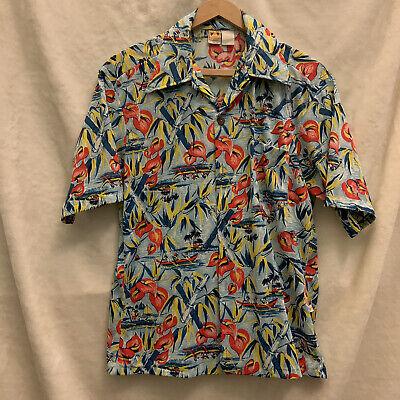1970s Mens Shirt Styles – Vintage 70s Shirts for Guys HANG TEN Hawaiian Shirt Butterfly Collar Sz M / L Vintage 1970s $29.99 AT vintagedancer.com