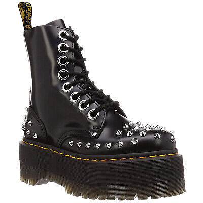 Stud Buttero Leather Ankle Lace-Up Zip-Up Damen Stiefel (Drmartens Stiefel)