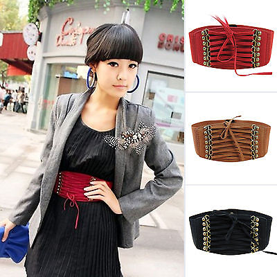 Womens Wide Waist Belts Elastic Stretch Ladies Buckle Waistband For Jeans Dress
