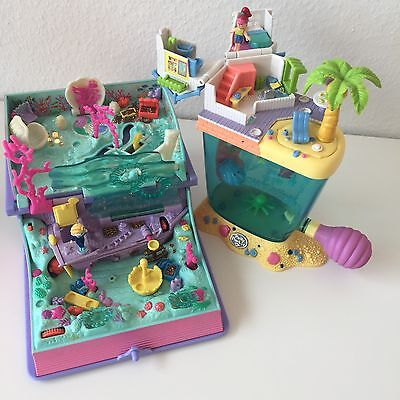 Mini Polly Pocket Set: Buch Unterwasserwelt  & Haus Aquarium  +  5 Mini-Figuren