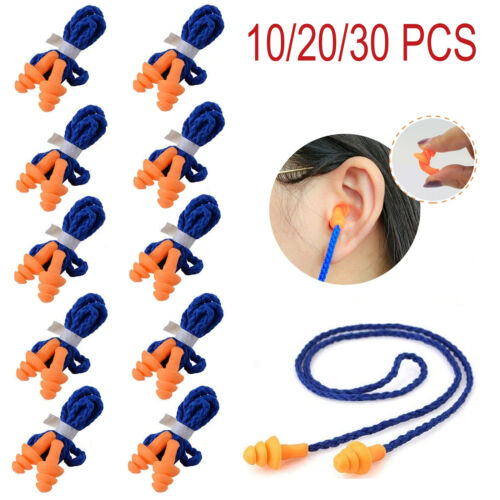 10/30Pcs Pairs Silicone Corded Ear Plugs Reusable Hearing Protection Earplugs Business & Industrial