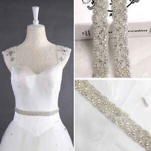 Crystal Bridal Belt Wedding Dress Sash Diamante Trim Lique Beaded Waistband
