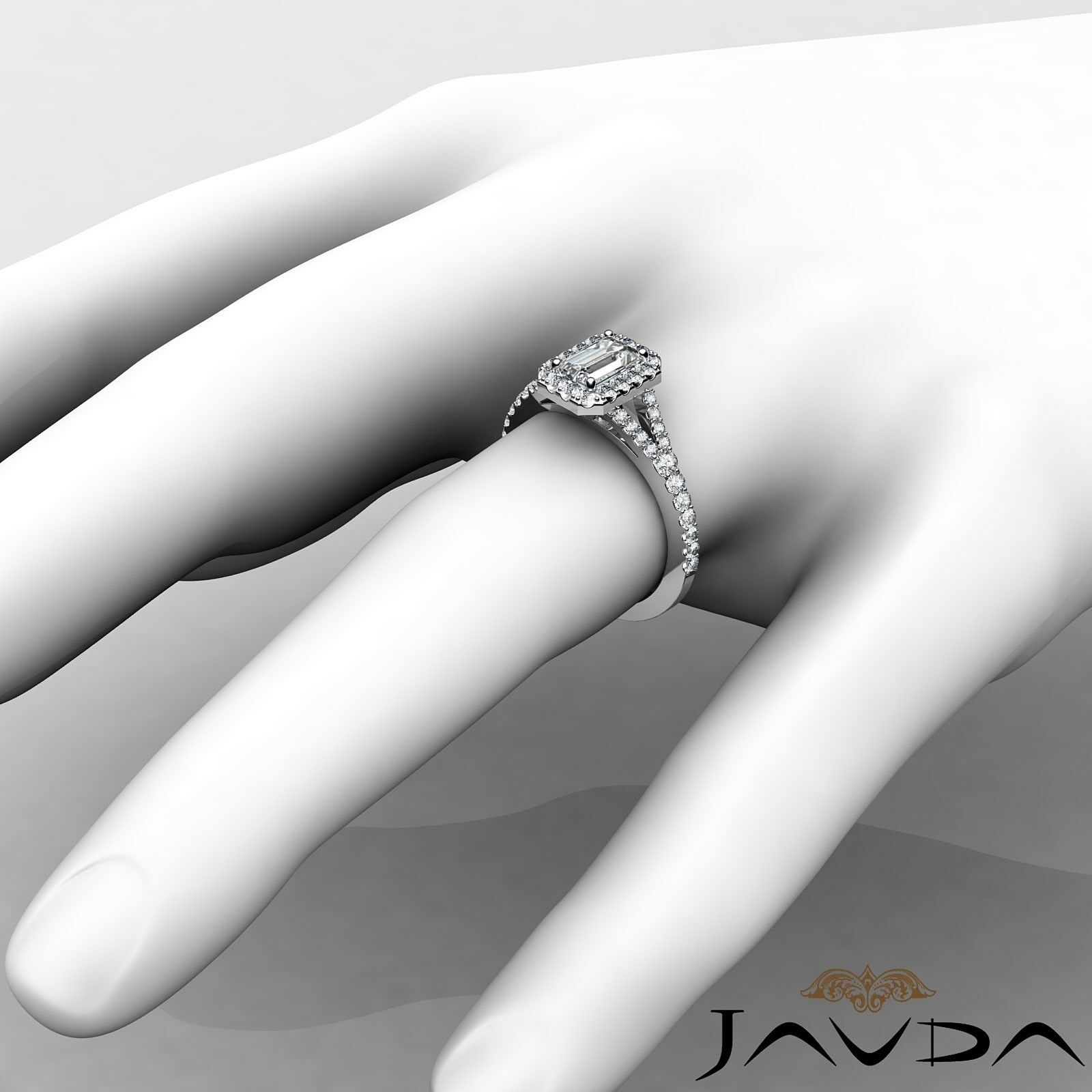 1.23ctw Halo U Pave Stone Emerald Diamond Engagement Ring GIA H-SI1 White Gold 2