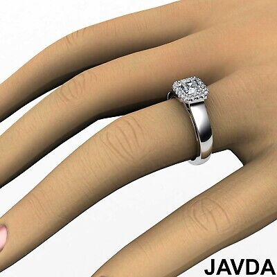 Asscher Diamond Engagement GIA H VVS2 18k White Gold Halo Pave Set Ring 0.7Ct 3
