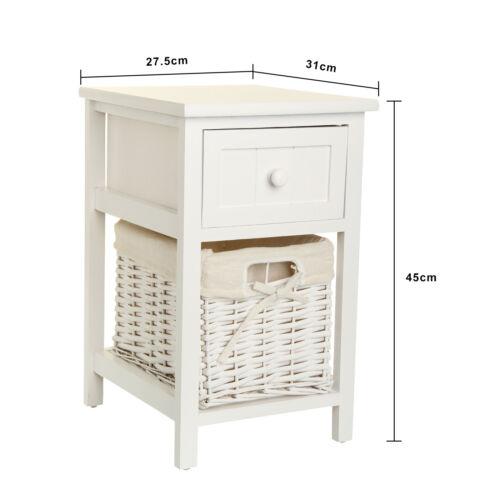 2pctable de chevet table de nuit commode armoire chambre coucher tiroir osier ebay. Black Bedroom Furniture Sets. Home Design Ideas