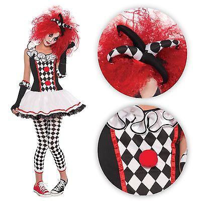 Teens Girls Harley Quinn Harlequin Clown Jester Monster Fancy Dress Costume (Harley Quinn Kostüm Teen)