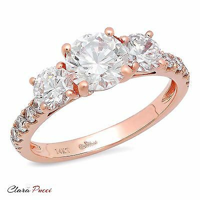 2.10 CT Three Stone with Accent Ring Engagement Wedding Band 14K Rose Gold
