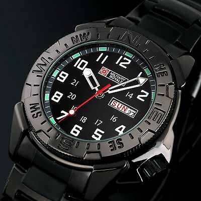 Wrist Analog Day Date Army Quartz Sport Watch Alarm Black Stainless Steel Men's