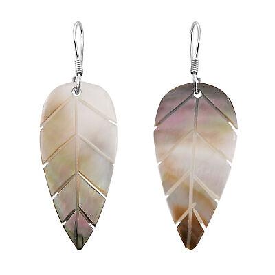 Tropical Leaf Carved Brown Lip Mother of Pearl Seashell Dangle Earrings