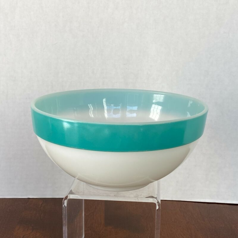 Vintage Fire King Colonial Turquoise Blue Band Mixing Bowl 7.5""