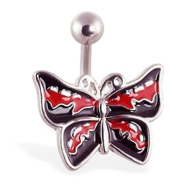 (BLACK & RED BUTTERFLY BELLY RING)