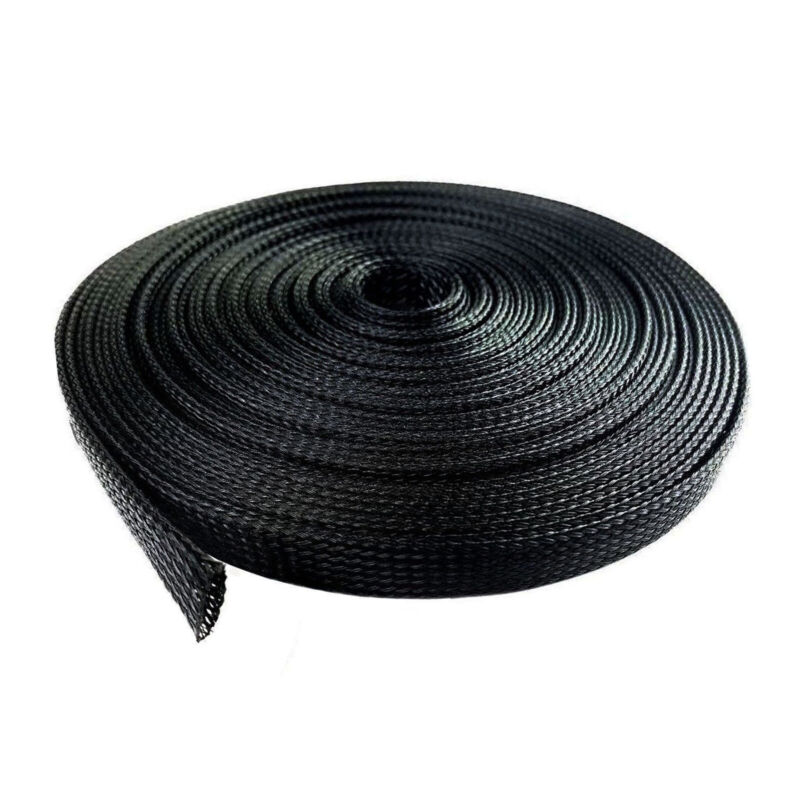 """100 Feet 1/4"""" Expandable Wire Cable Sleeving Sheathing Braided Loom Tubing Black"""