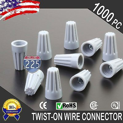 1000 Grey Twist-On Wire GARD Connector Conical nuts 22-16 Gauge Barrel Screw US