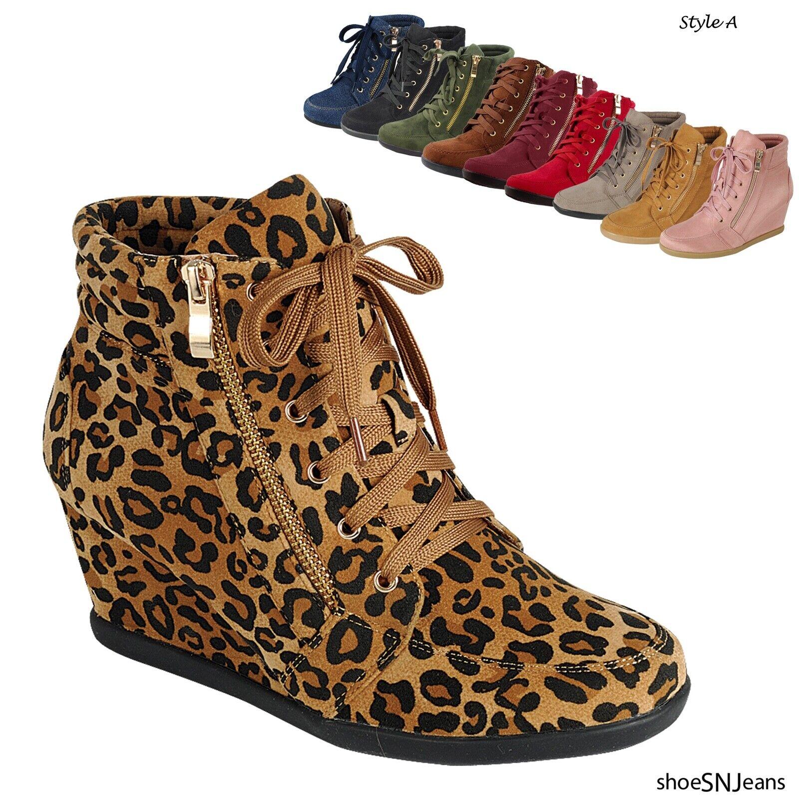 как выглядит Женская обувь на высоком каблуке Women High Top Wedge Heel Sneakers Platform Lace Up Tennis Shoes Ankle Booties фото