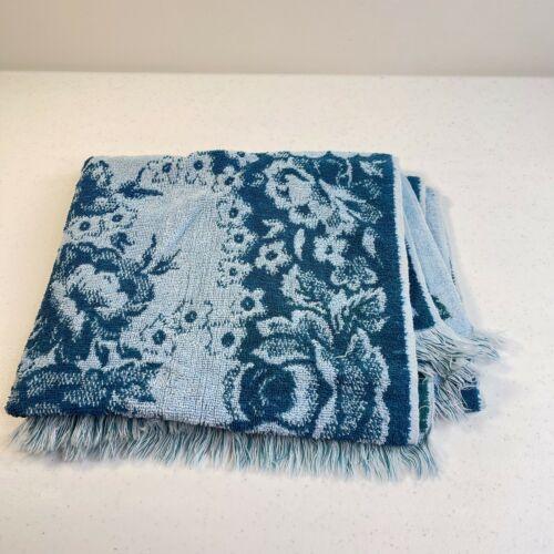 vintage fashion manor bath towel blue floral rectangle retro cotton usa 36x24