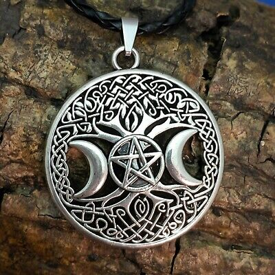 28MM WICCAN VINTAGE SILVER TONE MOROCCO PENTAGRAM STAR COIN PENDANT NECKLACE