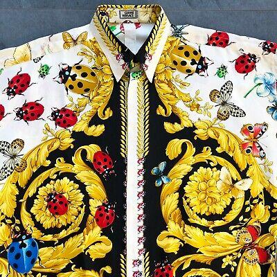 iconic GIANNI VERSACE silk men's shirt Barocco Butterfly Ladybug print size 52
