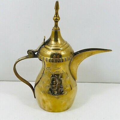 OLD BRASS DALLAH  ARABIAN COFFEE POT BEDOUIN MIDDLE EASTERN SMALL