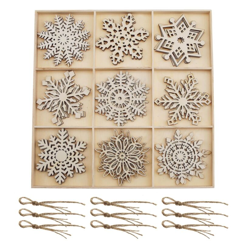 Natural+Wood+Christmas+Ornaments+Snowflakes+Decorations+for+Home+Party+27pcs