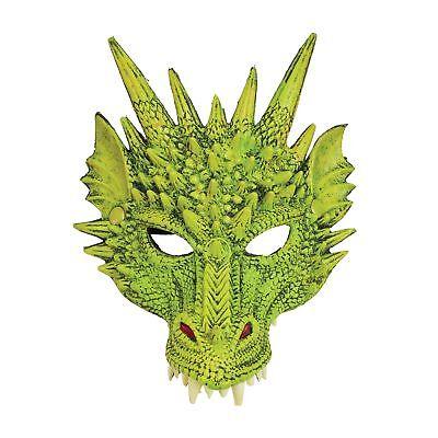 Green Dragon Fantasy Latex Halloween Mask Adult Mens Fancy Dress Costume](Latex Dragon Mask)