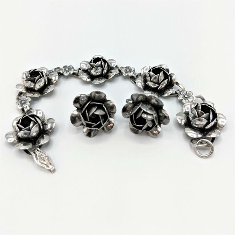 "Vintage Coro 1940s Sterling Silver Rose Flower 925 Bracelet 7"" and Earrings Set"