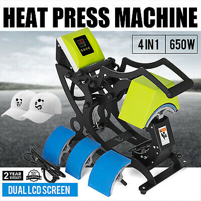 4 In 1 Hat Heat Press Machine Dual Digital 110v Multifunctional Thick Plate