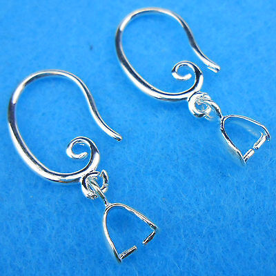 Wholesale 10PCS Jewelry Findings 925 Silver Plate Pinch Bail Bale Hook Earwire (Jewelry Findings Wholesale)
