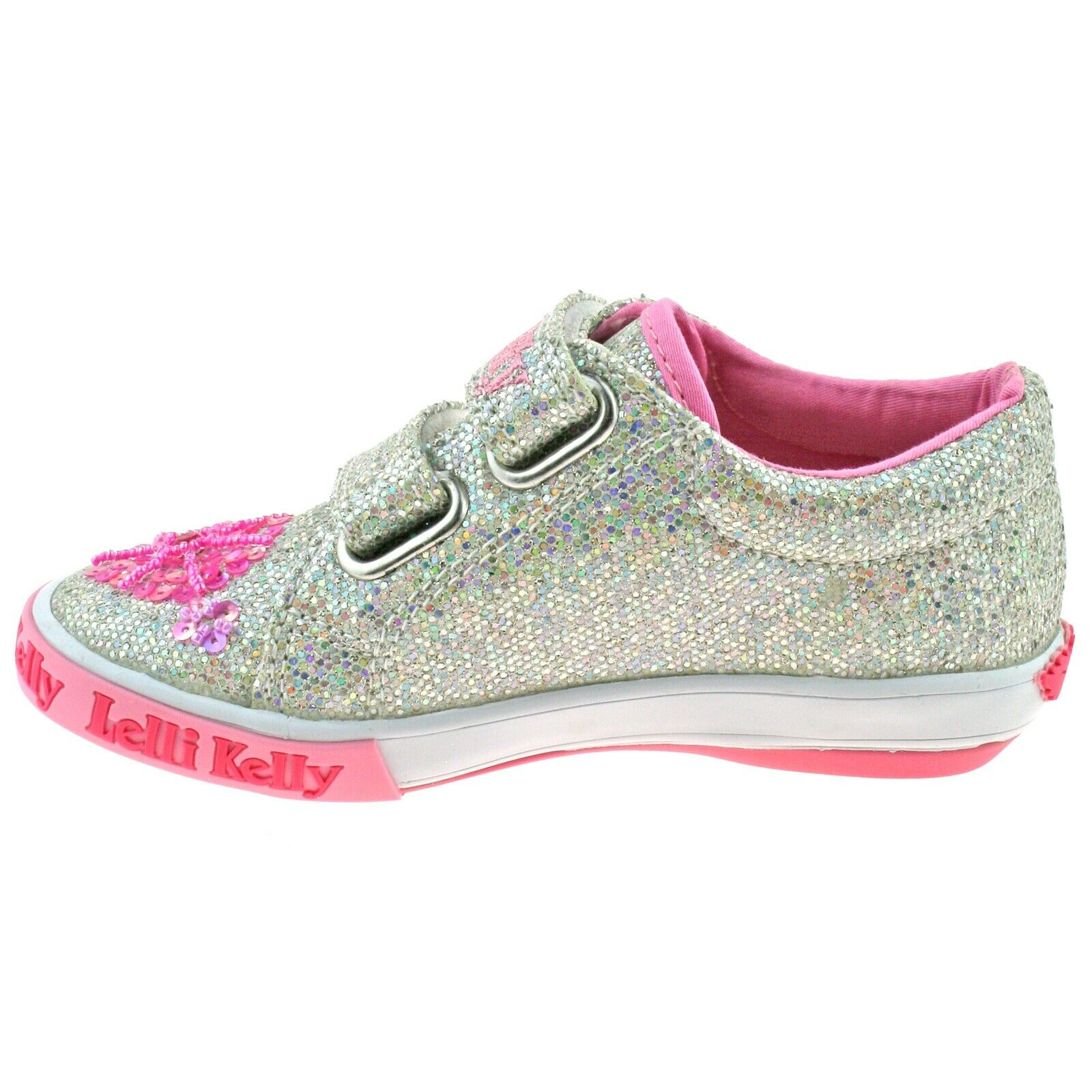Lelli Kelly LK9081 GH01 Silver Glitter Daisy Adjustable Double Strap Shoes