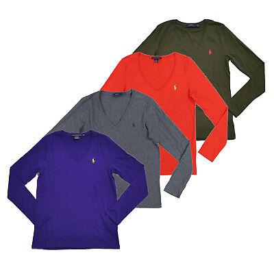 Ralph Lauren Womens Long Sleeve T-Shirt Lightweight Jersey Tee Shirt V-Neck New
