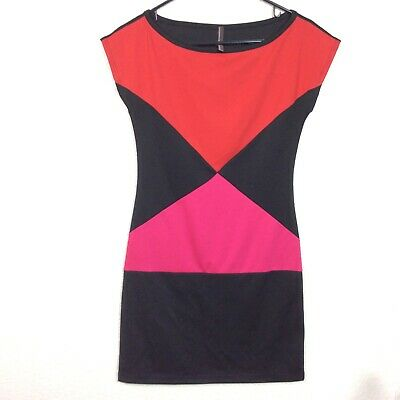 Pink Crayon Womens Sz S Color block Red Black Pink Stretch Dress](Crayon Dress)