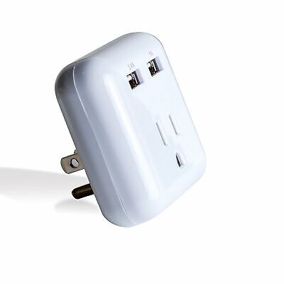 Bytech Dual Port Rapid Charging Adapter USB Wall Plate Outlet Socket Surge Safe
