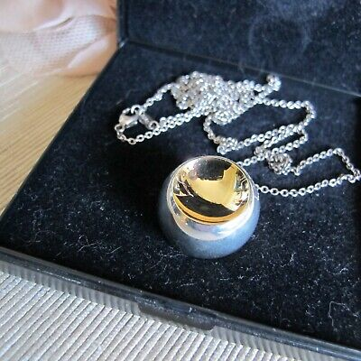 Retired Georg Jensen CAVE Pendant # 510 Sterling Silver & 18 Ct. Gold