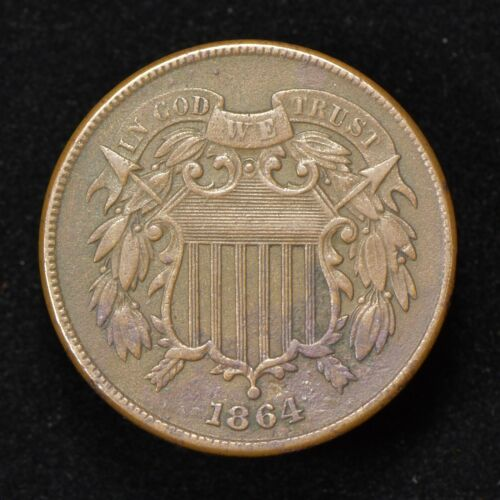1864 2c TWO-CENT PIECE, ORIGINAL XF+ COIN *LARGE MOTTO* LOT#Z069