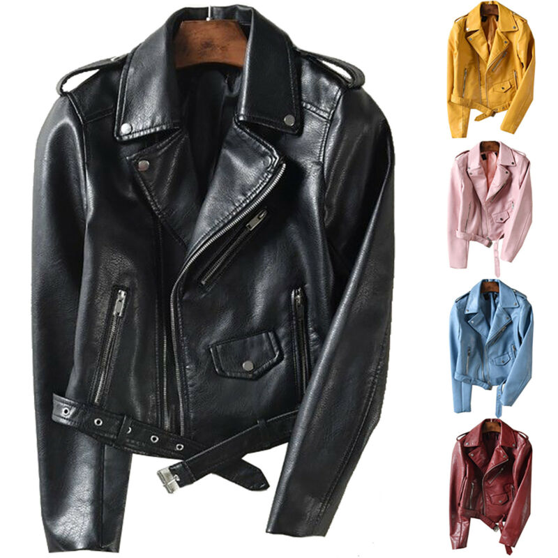 Women Ladies Faux Leather Jacket Coats Zip Up Biker Short Pu